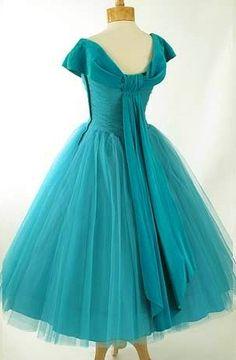 1950's Turquoise Chiffon Dress