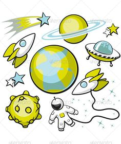 Set of Space Objects  #GraphicRiver         Cartoon set of space objects on a…