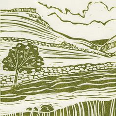 'Gordale Scar'. Limited edition linocut print.   My linocut prints are inspired by nature; my love of gardening and the great British countryside. My interest in 1950s textiles and ceramics also influences much of my work.  I love exploring the countryside by bike or on foot, camera in hand, capturing ideas for my next prints.  www.michellehughes.co.uk