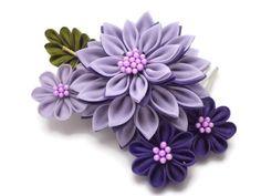 Púrpura Dalias Kanzashi peine / Tsumami Kanzashi o por HandcraftKu