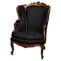 French Chair In Black Linen | From a unique collection of antique and modern wingback chairs at http://www.1stdibs.com/furniture/seating/wingback-chairs/
