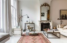 Gravity Home: Living room in a historic Amsterdam home Living Room Interior, Home Interior Design, Living Room Decor, Vintage Modern Living Room, Bedroom Vintage, Living Room Inspiration, Home Decor Inspiration, Inspiration Boards, Design Inspiration