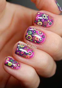 Dressed Up Nails - colorful layered dots nail art
