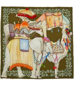 Swash Green Travelling Animals Print Silk Scarf