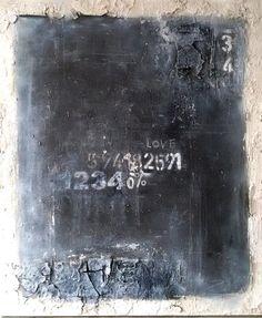 Tafel 100x120 schwarz/weiß mischtechnik Sonja Bittlinger