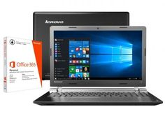 """Notebook Lenovo Ideapad 100 Intel Dual Core - 4GB 500GB LED 15,6"""" + Pacote Office 365 com as melhores condições você encontra no Magazine Masquebarato. Confira!"""