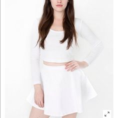 White denim circle skirt Button on side. Never been worn. Will sell for lower on merc :) American Apparel Skirts Mini