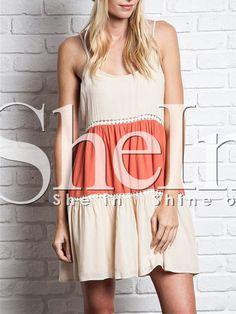 Apricot Orange Spaghetti Strap Backless Color Block Dress,    #Dresses,    #dress150615502