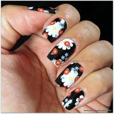 Black Floral Nail Strips