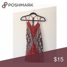 Red pattern dress Pattern slims figure! Angie Dresses Mini