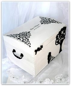 wedding box, hand made wedding box, black and white wedding box, wedding card box, memory box