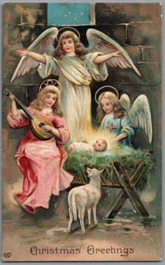 "Angels, Baby Jesus in Manger, Mandolin ""Christmas Greetings"" Religious Postcard #Christmas"
