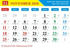 november 2018 calendar indonesia