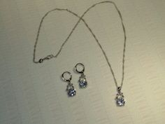CZ 925 Sterling Silver Pendant Necklace And Earrings  Very