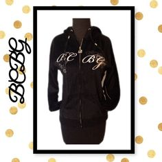 BCBG Max Azria large velour hoodie Beautiful hoodie with embroidery and rhinestone accents sz large 80% cotton 20% polyester. BCBGMaxAzria Tops Sweatshirts & Hoodies