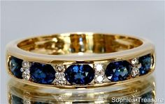 Exquisite Genuine Blue Sapphire And Diamond 18kt Yellow Gold Channel Set Anniversary Band Ring