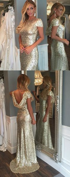 shiny prom dress with sequins, Sparkle Silver Mermaid