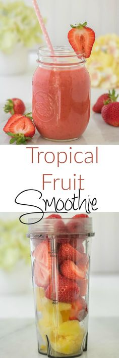 Tropical Fruit Smoothie - A Guilt Free Treat A blend of tropical fruits makes a refreshing fruit smoothie. This Tropical Fruit Smoothie is a healthy treat that you and your kids can enjoy without any guilt and help get in your fruit intake! Fruit Drinks, Yummy Drinks, Healthy Drinks, Healthy Recipes, Beverages, Healthy Tips, Healthy Breakfasts, Fruit Cups, Yogurt Recipes
