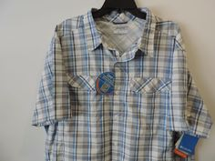 Columbia Mens Gray Plaid Vented Kestral Ridge Shirt SZ 2XL NWT Quick Shipping #Columbia #ButtonFront