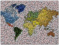 World Map Bottle Cap Mosaic Fine Art Print... I have enough caps saved up to try to copy this