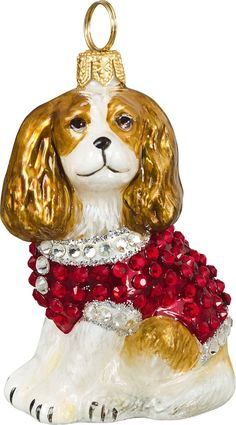 The Pet Set Cavalier King Charles Spaniel with Austrian Crystals Glass Christmas Ornament - Handcrafted in Europe by Joy to the World Collectibles