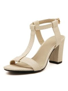 Shop White Textured T Bar Buckle Strap Heeled Sandals from choies.com .Free shipping Worldwide.$36.89