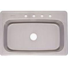 Should fit, good reviews, in stock at Lowe's -Franke USA FrankeUSA 20-Gauge Single-Basin Drop-In Stainless Steel Kitchen Sink $199