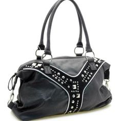 Large Dasein Studded Handbag Purse, Black. Brand New With Tags