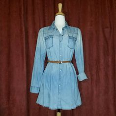 Denim Button Down Long Sleeve Dress + belt NOT included + lightly used + great condition + light fit + no belt + all buttons intact + offers welcome via designated button Tinsletown Dresses Mini