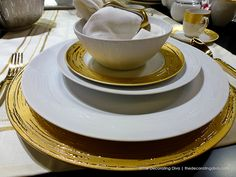 Bowl and Dinner Plates from Porcel's Auratus Porcelain Collection