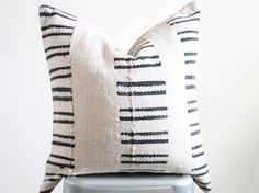 20x20 Vintage Mali West African Mudcloth Textile Black/Cream Stripe Boho Pillow Cover