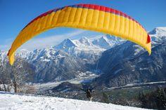 Winter paragliding in Interlaken, Switzerland. #outdoors #switzerland #wintersport