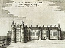 The west range of Holyrood Palace drawn around 1649 by James Gordon of Rothiemay, prior to reconstruction in the 1670s.