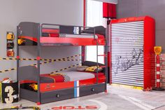 Lofty dreams await your little racer with this impressive bunk bed system featuring a convenient pullout bed punctuated w/cool wheel motif drawer pulls. Car Bed, Drawer Pulls, Bunk Beds, Kids Room, Drawers, Champion, Cool Stuff, Storage, Furniture