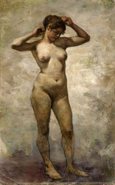 Lovis Corinth (German, 1858-1925), Female Nude with Raised Arms. Oil on artists's board, 35.1 x 22 cm.