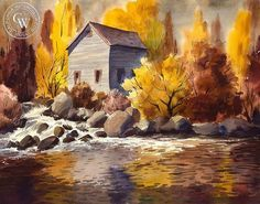 Mill Stream, California art by Charles Payzant. HD giclee art prints for sale at CaliforniaWatercolor.com - original California paintings, & premium giclee prints for sale