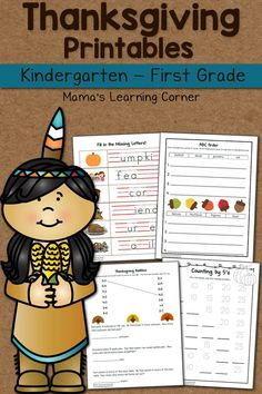 Download a Thanksgiving worksheet packet for your young learner! Activities for Kindergarten and First Grade.