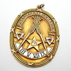 VINTAGE PAST VENERABLE MASTER MASONIC PENDANT SOLID 14K GOLD