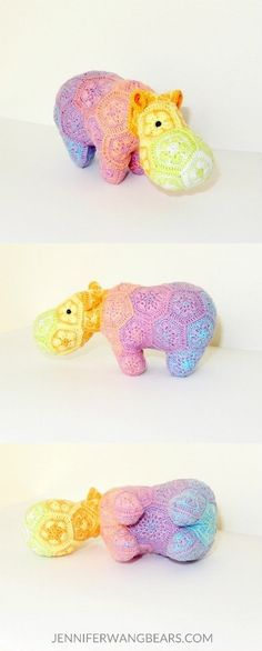 "Rainbow crochet African flower hippo by Jennfer Wang Bears (original design by Heidi Bears ""Happypotamus"")"