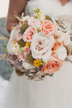 Real Wedding: Amy and Nick's B. Fresh, dried and paper flowers combined in this rustic bouquet Bride Bouquets, Floral Bouquets, Bridesmaid Bouquet, Diy Wedding, Wedding Flowers, Bouquet Wedding, Rustic Wedding, Wedding Dresses, Intimate Weddings