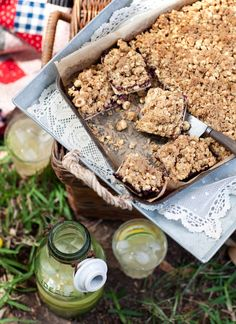 Apple and Blackberry Bars with Hazelnut Crumble topping