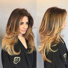 Golden Blonde Balayage For Long Layered Hairu