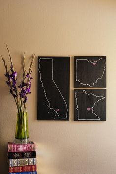 wood + chalkboard paint + simple drawing = cute wall decoration