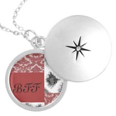 pink damask and peacock feather pattern BFF best friends forever custom locket pendant
