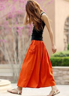 Orange skirt, womens skirts, maxi skirt, linen skirt, elastic waist skirt, skirt with pockets,A line skirt ,Full skirt ,Circle skirt (958)
