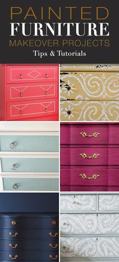 Painted Furniture Makeover Projects! • Explore this post for step by step tutorials to painted furniture makeovers, and some great inspiration! #paintedfurnituremakeovers #paintedfurniture #DIY #furnituremakeovers