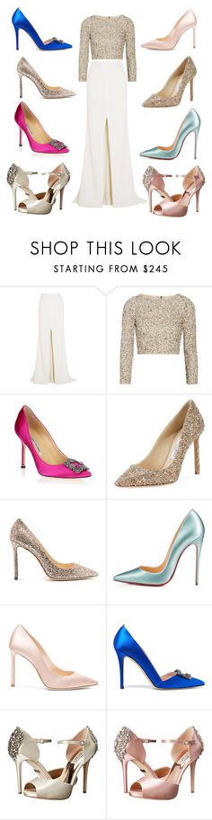 """Too Many Options! Which would you choose? Leave a comment!"" by southernpearlgir ❤ liked on Polyvore featuring Rime Arodaky, Alice + Olivia, Manolo Blahnik, Jimmy Choo, Christian Louboutin, SJP and Badgley Mischka"