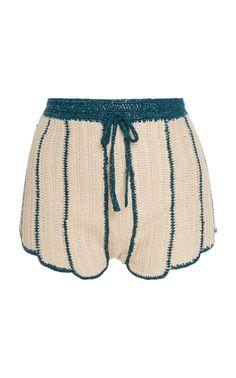 Sea Shell Deco Crochet Shorts by Anna Sui Crochet Pants, Crochet Crop Top, Crochet Clothes, Diy Clothes, Crochet Bikini, Mode Crochet, Crochet Baby, Crochet Designs, Crochet Patterns