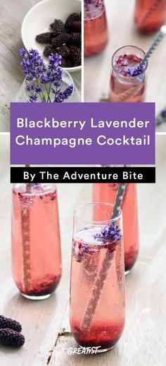 Blackberry Lavender Champagne Cocktail Drinks 9 Champagne Cocktails That One-Up Boring Mimosas Mojito, Pina Colada Cocktail, Rum Cocktails, Beste Cocktails, Cocktail Recipes, Alcoholic Drinks, Champagne Drinks, Martinis, Tequila Sunrise