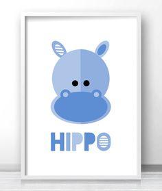 Modern nursery or kids room decor, hippo art, jungle animal wall art print